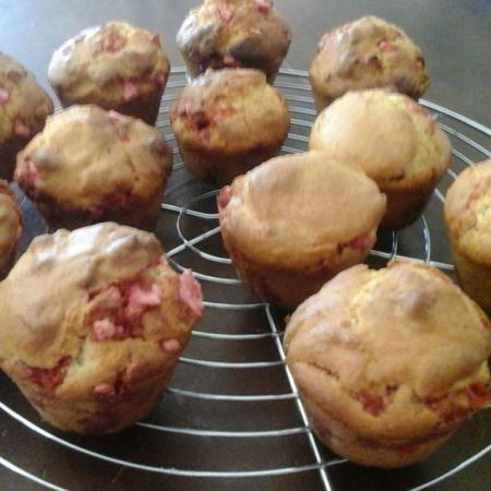 Muffin aux pralines roses