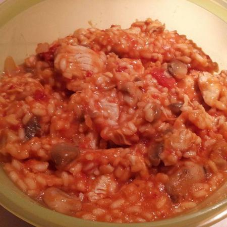 Risotto poulet tomates